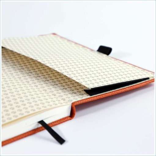 Dingbats orange tiger notebook - inside pocket
