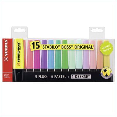 Stabilo Boss highlighters 15 pack deskset