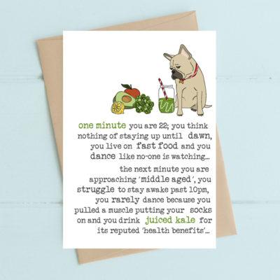 WW605 - juicing kale greetings