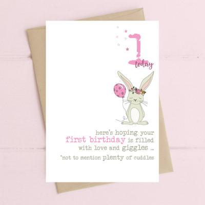 First Birthday Card Pink