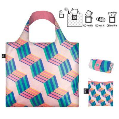 Loqi shopping bag tote cubes pink