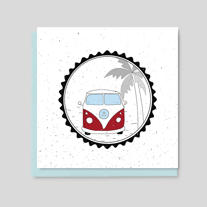 Camper and palm tree