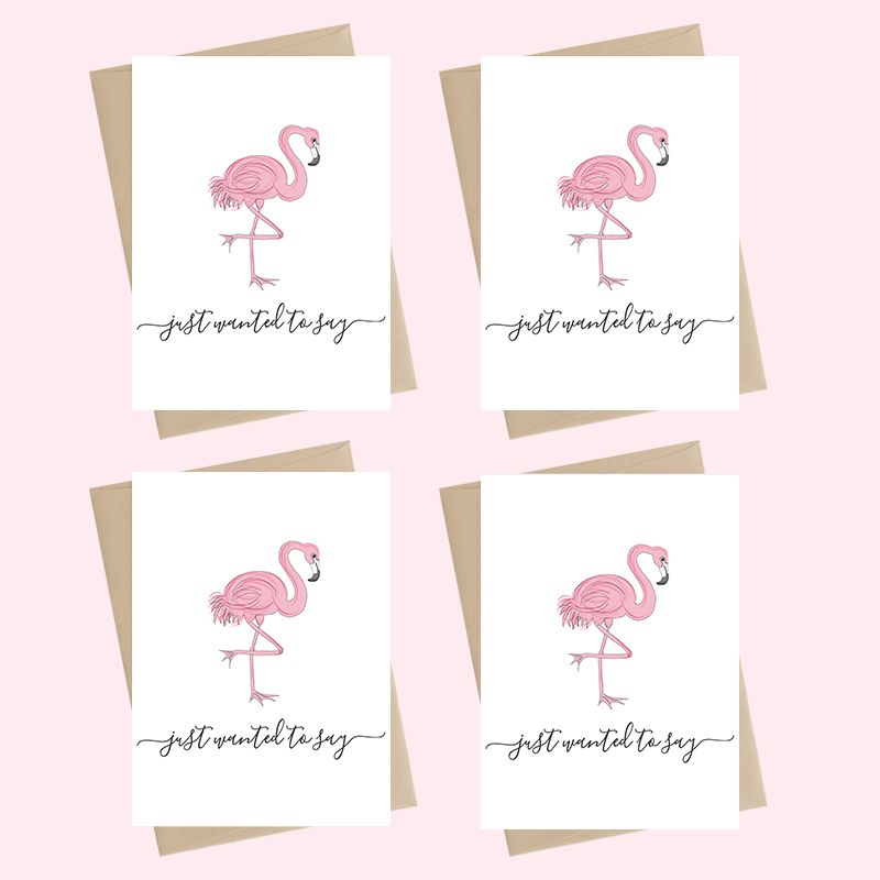 Mini Card Pack - just to say - flamingo