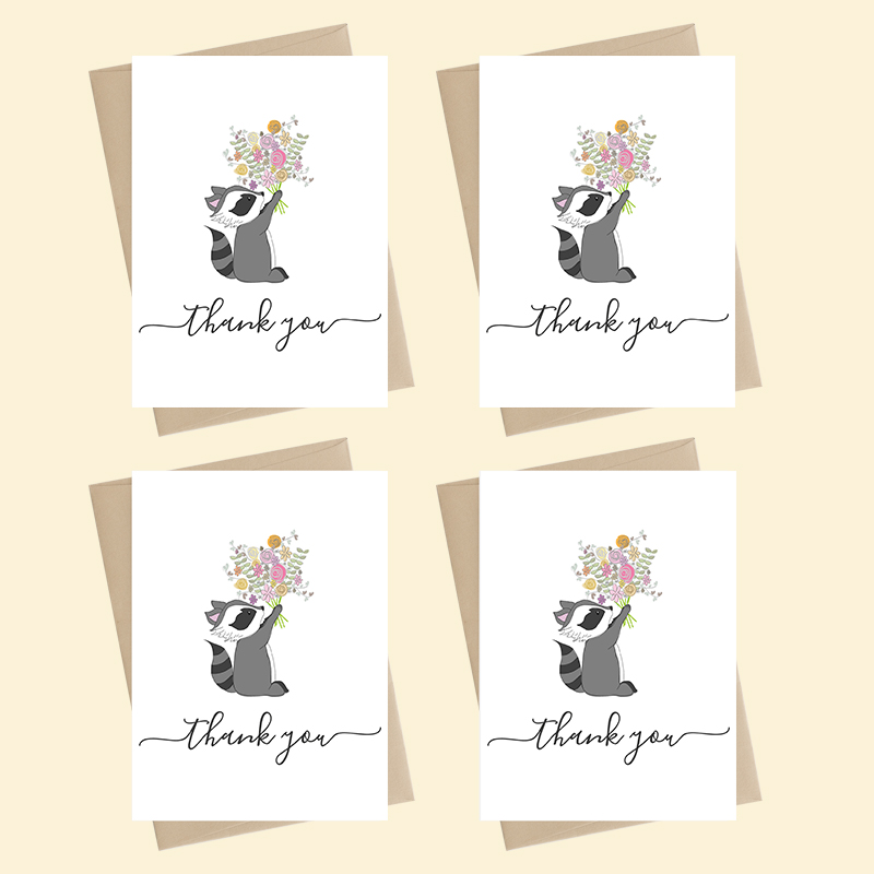 Mini Card Pack - thank you - raccoon with flowers