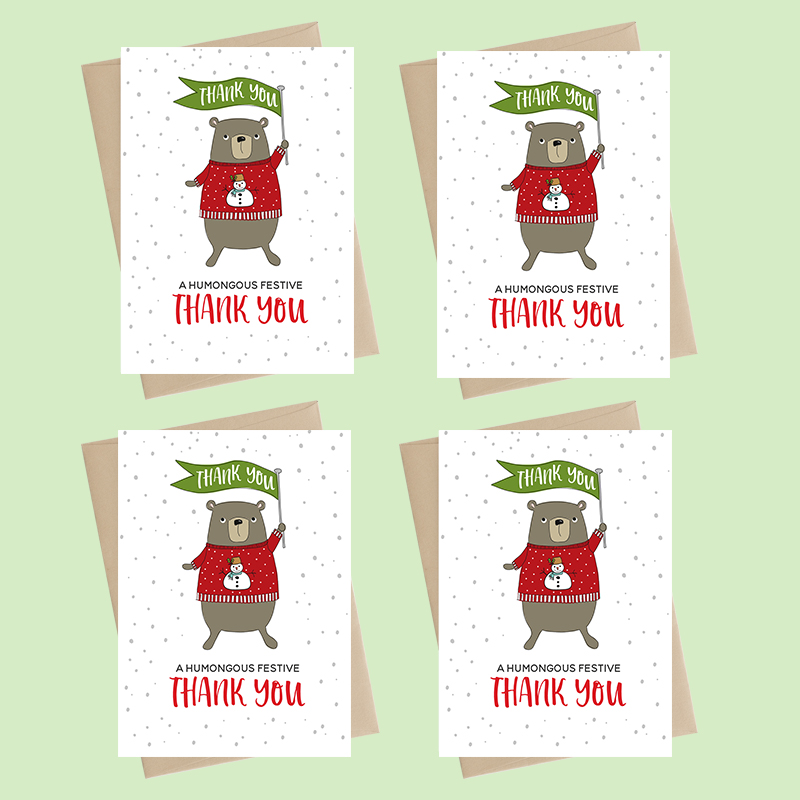 Mini Card Pack - Xmas - humongous festive thank you