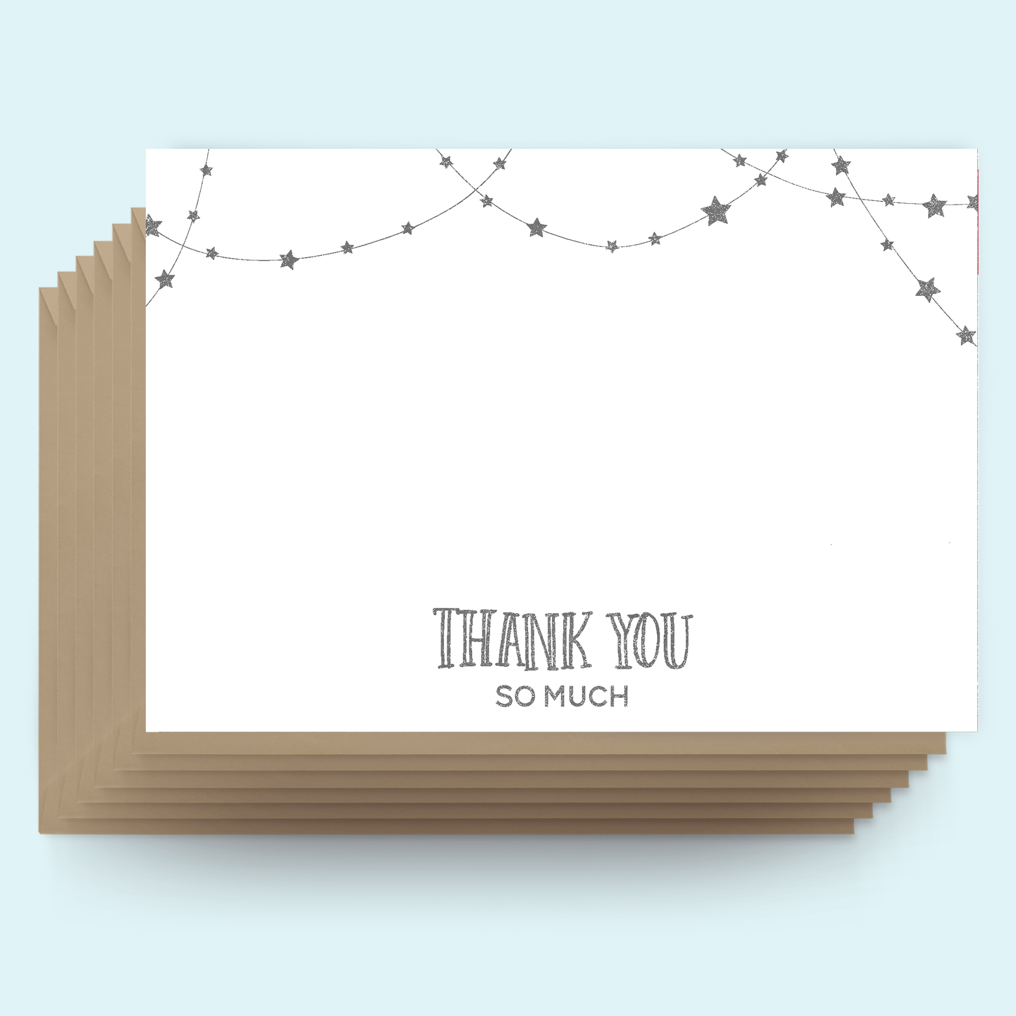 Postcards - Christmas - Thank you - String of stars