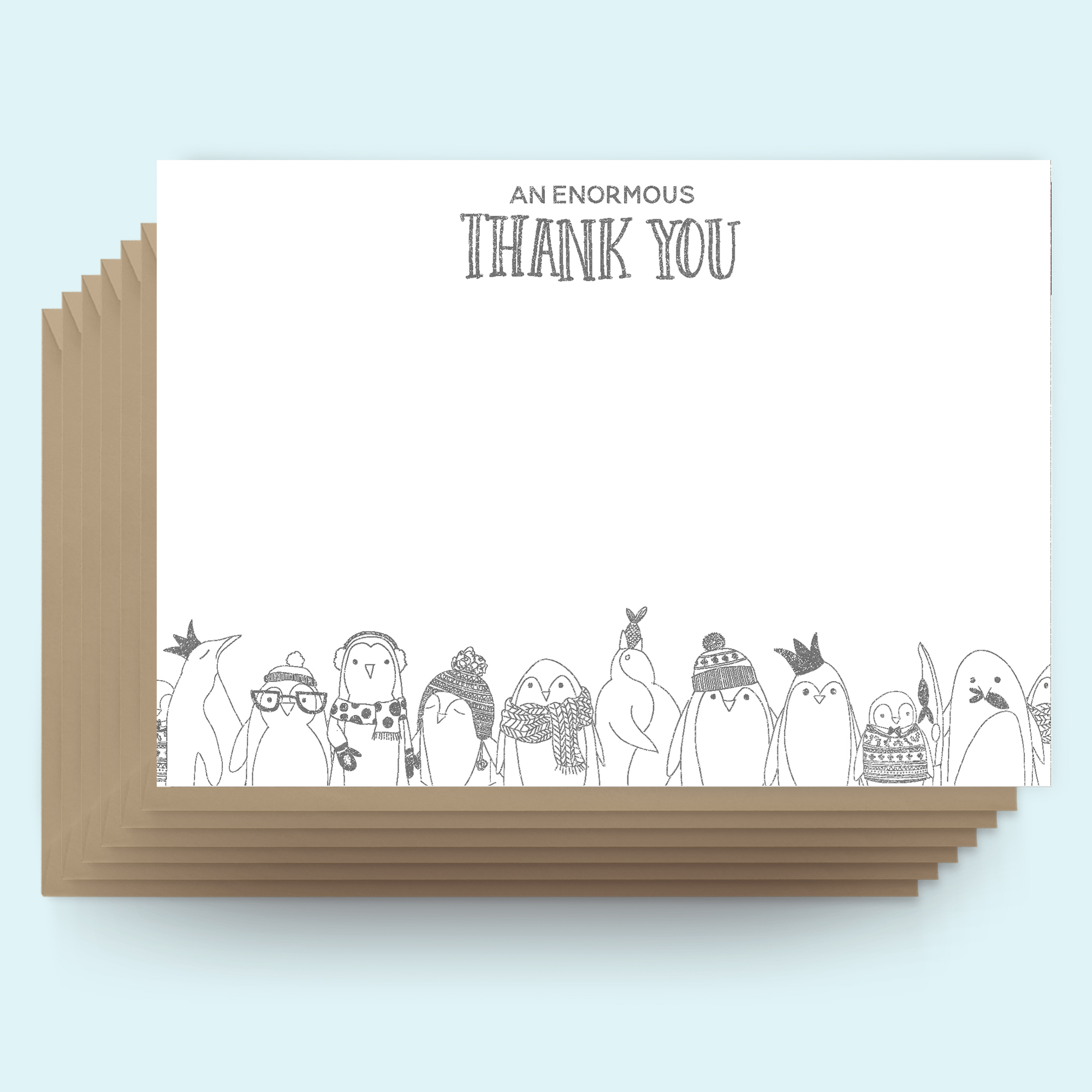 Postcards - Christmas - Thank you - Penguins