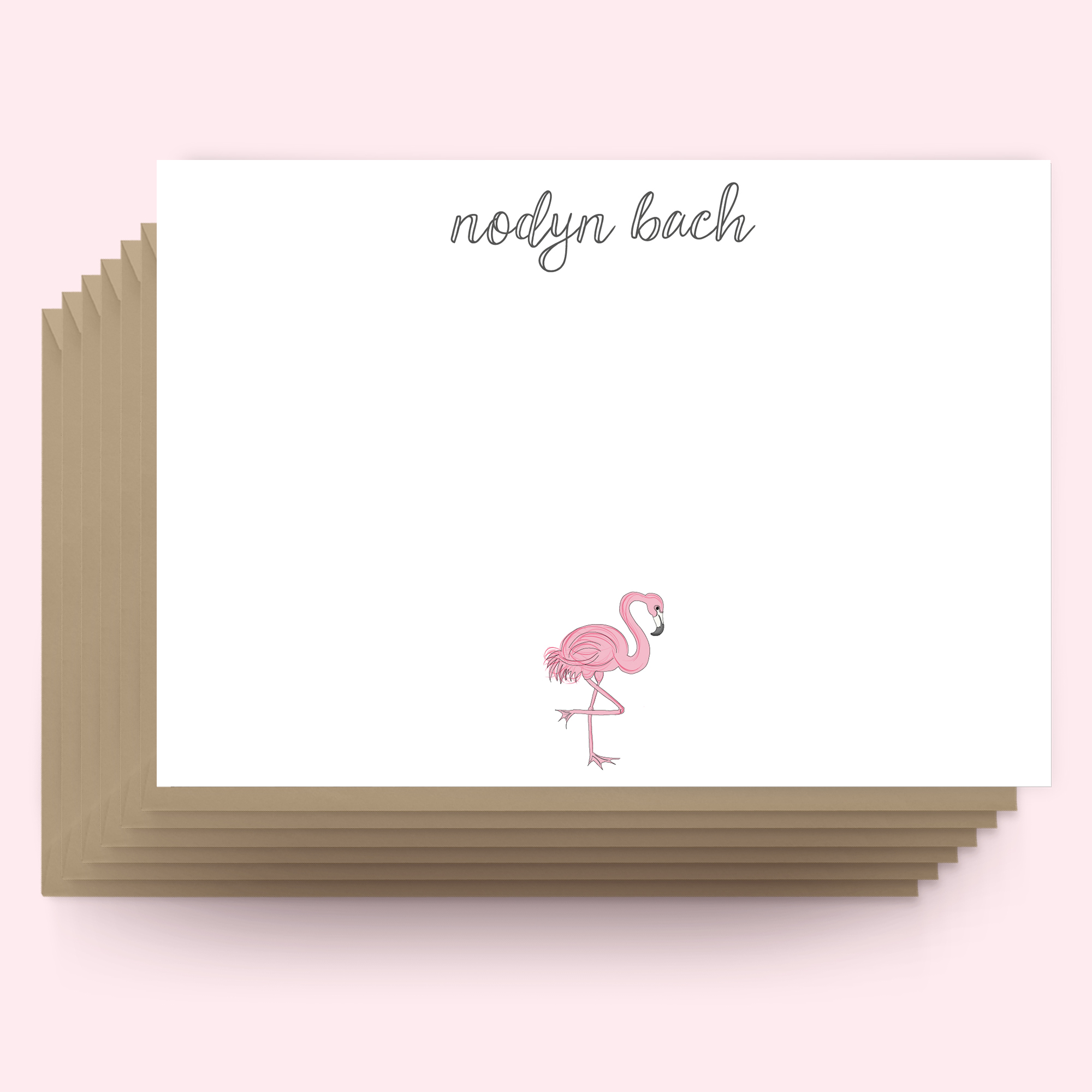 Postcards WELSH - Flamingo - small note