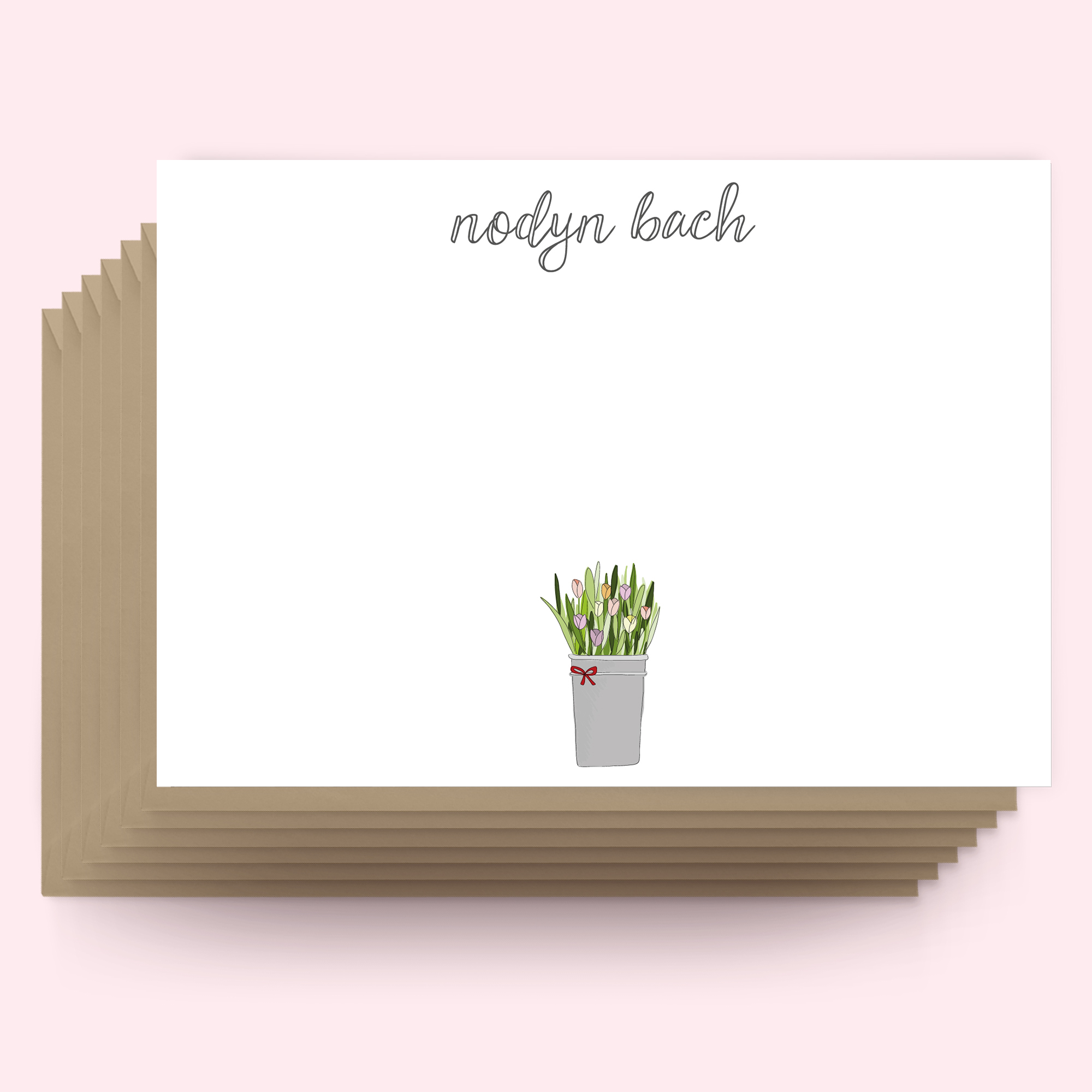 Postcards WELSH - tulip pot - small note