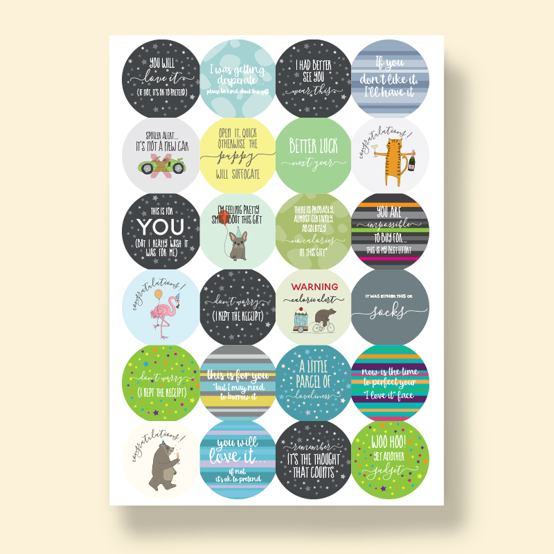Wrapping Labels - 24 labels per sheet (1 sheet per pack)