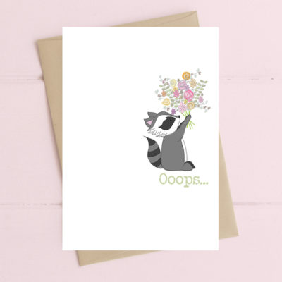 Oops - racoon with flowers