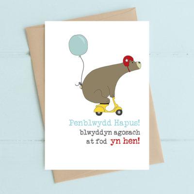 Penblwydd hapus. Blwyddyn agosach at fod yn hen! (Happy birthday. One year nearer to being old!)