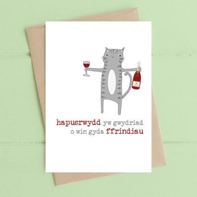 Hapusrwydd yw gwydriad o win gyda ffrindiau (Happiness is a glass of wine with friends)
