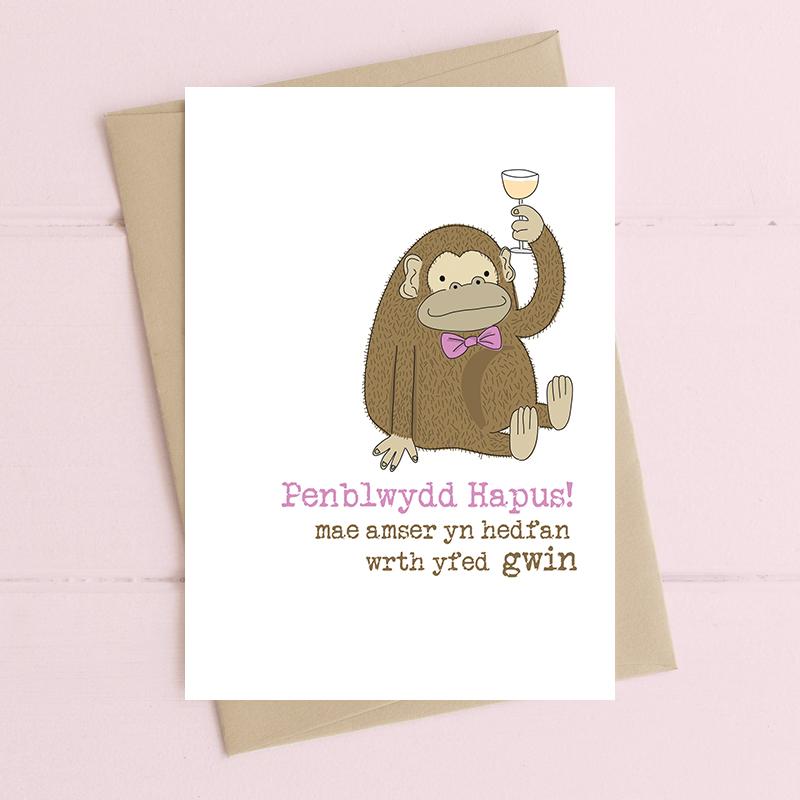 Penblwydd Hapus... Mae amser yn hedfan wrth yfed gwin (Happy Birthday.... Time flies when drinking wine)