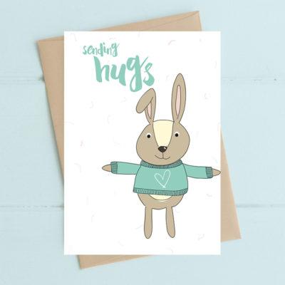Greeting Card - Rabbit Sending Hugs