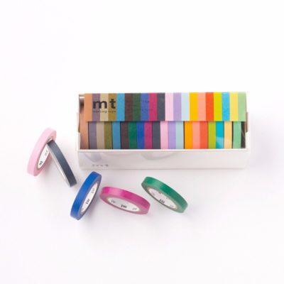Box-of-MT-Slim-Washi-Masking-Tapes-20-colours-7mm-x-10m-Deco-Sticky-Craft-Trim